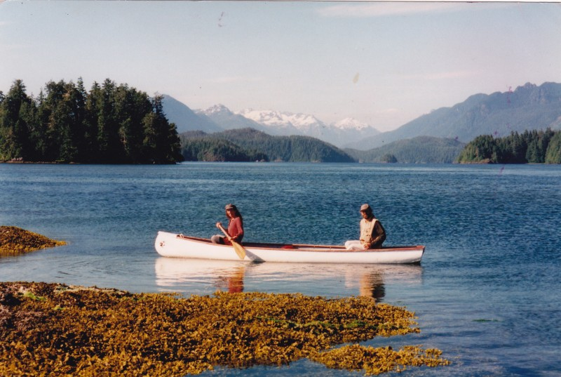 Paul Piotrowkski and Karedwyn Bird paddling in Clayoquot Sound in their Wolverine Canoe